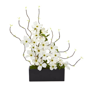Dogwood and Willow Artificial Arrangement in Black Vase