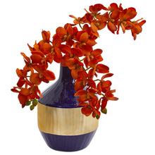 Load image into Gallery viewer, Phalaenopsis Orchid Artificial in Blue and Gold Designer Vase