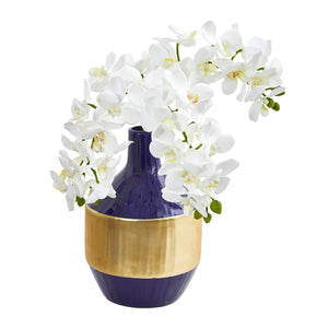 Phalaenopsis Orchid Artificial in Blue and Gold Designer Vase