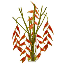Load image into Gallery viewer, Hanging Heliconia Artificial Arrangement in Cylinder Vase