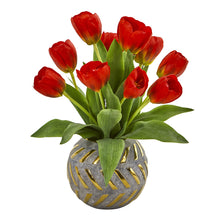 Load image into Gallery viewer, Tulip Artificial Arrangement in Decorative Vase