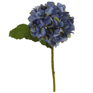 "12"" Hydrangea Artificial Flower (Set of 12) - Blue"