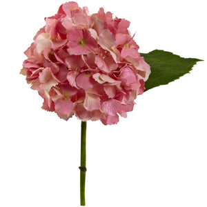 "12"" Hydrangea Artificial Flower (Set of 12) - Pink"
