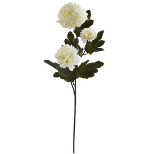 "29"" Chrysanthemum Artificial Flower (Set of 12) - Cream"