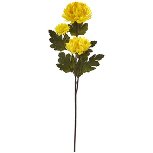 "29"" Chrysanthemum Artificial Flower (Set of 12) - Yellow"