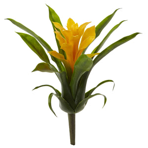 "10"" Bromeliad Artificial Flower (Set of 6) - Yellow"