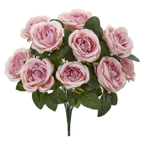 "14"" Rose Bush Artificial Flower (Set of 6) - Pink"
