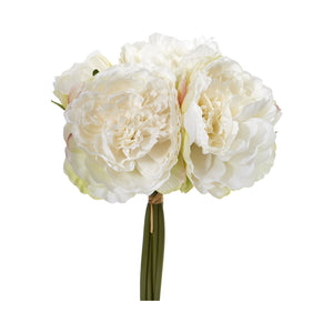 Peony Bouquet Artificial Flower (Set of 6) - White