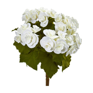 "11"" Begonia Bush Artificial Flower (Set of 4) - White"