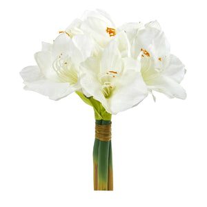 "14"" Amaryllis Bouquet Artificial Flower (Set of 3) - White"