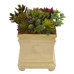 Mixed Succulent Artificial Plant in Decorative Vase