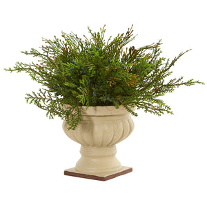 "15"" Cedar and Blueberry Artificial Plant with Planter"