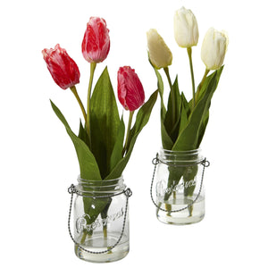 Tulip Artificial Arrangement in Jar (set of 2)