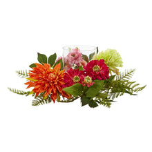 "Load image into Gallery viewer, 17"" Mixed Floral & Dahlia Candelabrum"