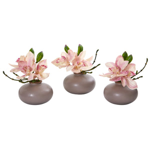 Cymbidium Orchid Artificial Arrangement (Set of 3)