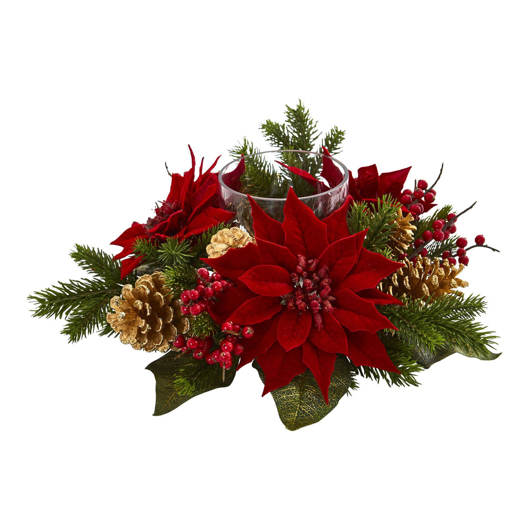 Poinsettia, Berry and Golden Pine Cone Candelabrum Artificial Arrangement