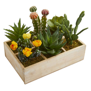 "11"" Mixed Succulent Garden in Tray Artificial Plant"