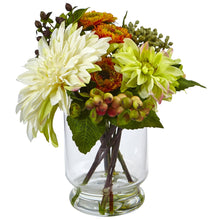 Load image into Gallery viewer, Mixed Dahlia and Mum with Glass Vase