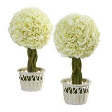 "Load image into Gallery viewer, 13"" Rose Topiary in White Pot Artificial Plant (Set of 2)"
