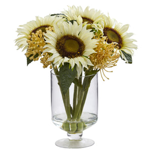 "12"" Sunflower & Sedum Artificial Arrangement in Vase"