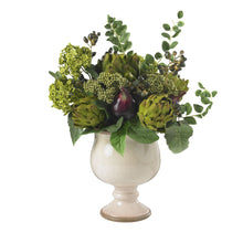 Load image into Gallery viewer, Artichoke and Hydrangea Silk Flower Arrangement