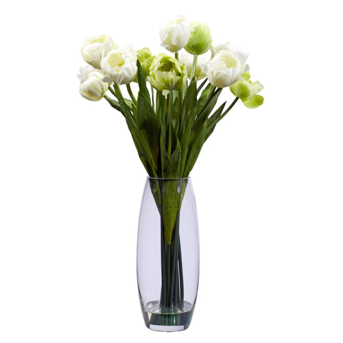 Tulip with Vase Silk Flower Arrangement