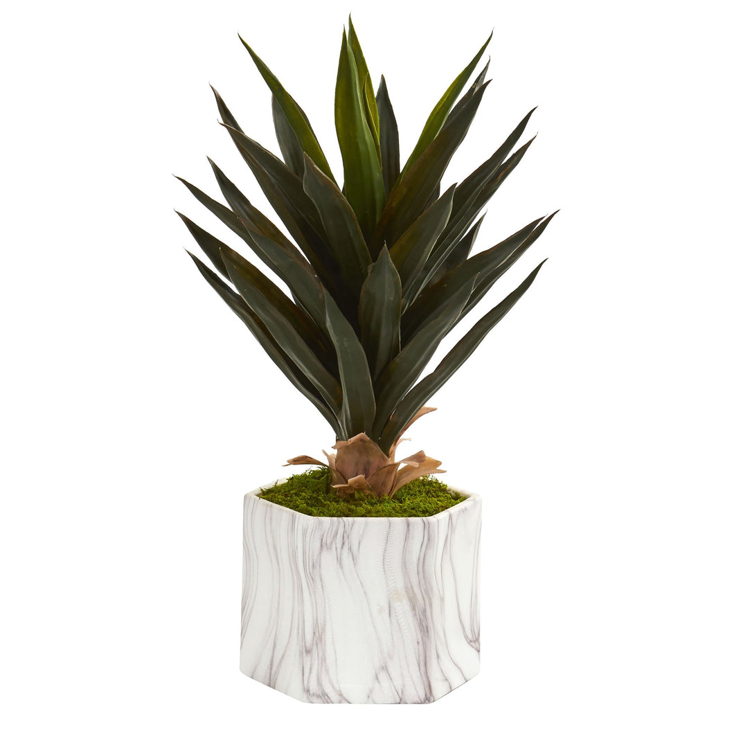 Agave Artificial Plant in Marble Finish Pot