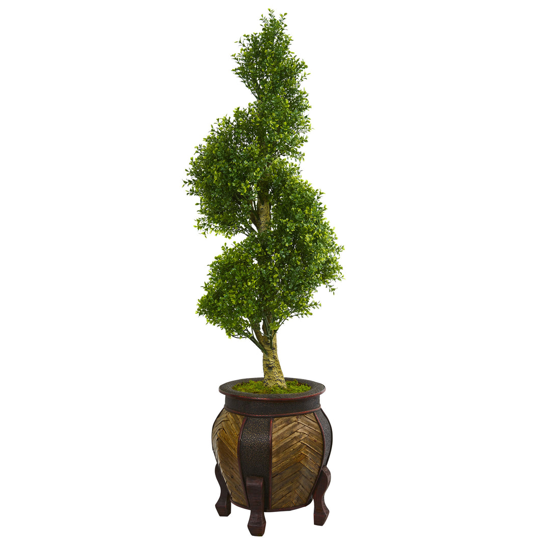 4.5' Boxwood Spiral Topiary Artificial Tree in Decorative Planter