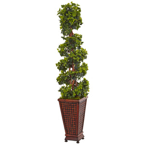 4.5' English Ivy Tree in Decorative Wood Planter