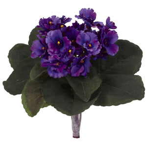 "9"" African Violet Artificial Plant (Set of 6)  - Purple"