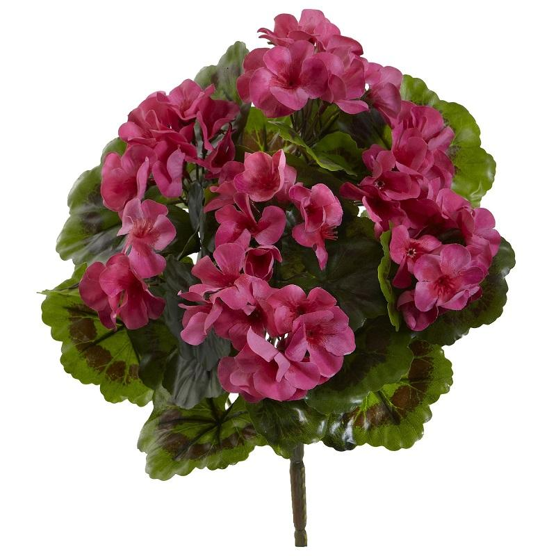 Geranium Artificial Bush UV Resistant (Indoor/Outdoor) (Set of 4) - Beauty