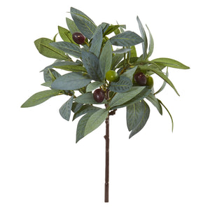 "12"" Olive Branch Artificial Plant with Berries (Set of 12)"