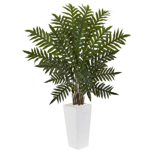 4.5' Evergreen Plant in White Tower Planter