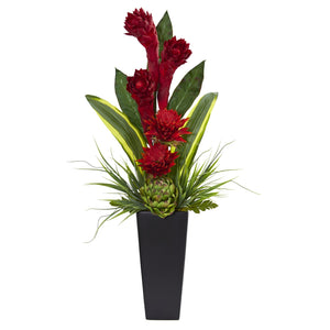 Ginger and Artichoke Artificial Tropical Arrangement in Black Vase