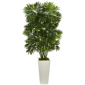 "49"" Mini Bamboo Palm Artificial Pant in White Tower Planter"