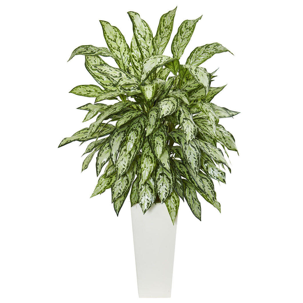 Silver Queen Artificial Plant in White Tower Planter