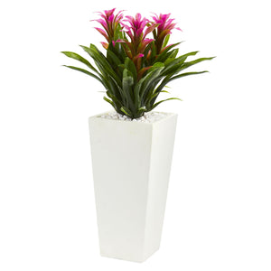 Triple Bromeliad Artificial Plant in White Tower Planter - Purple