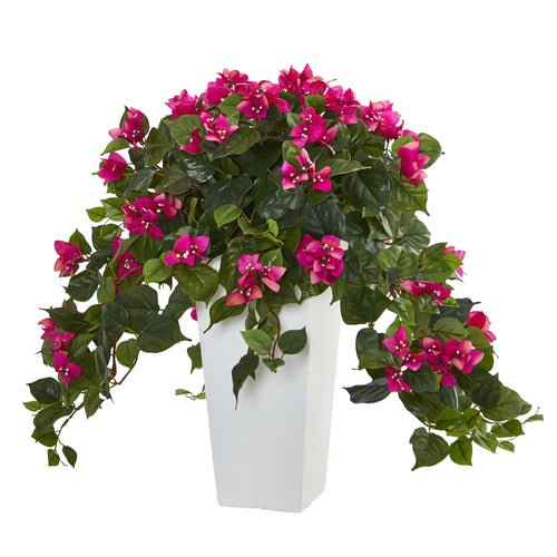 Bougainvillea Artificial Plant in White Tower Planter - Beauty