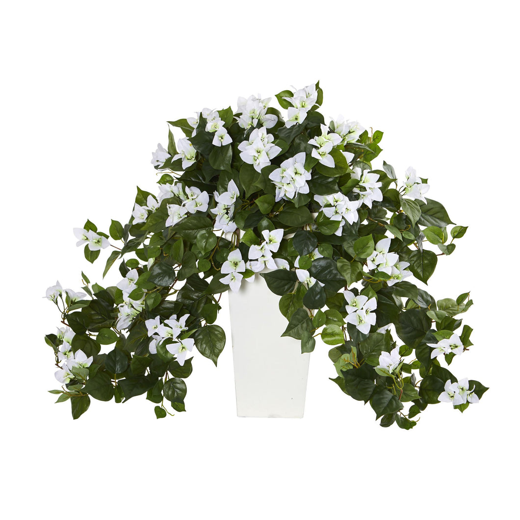 Bougainvillea Artificial Plant in White Tower Planter - White