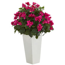 Load image into Gallery viewer, Bougainvillea Artificial Plant in White Tower Planter