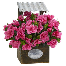Load image into Gallery viewer, Azalea Artificial Plant in Tin Roof Wood Planter