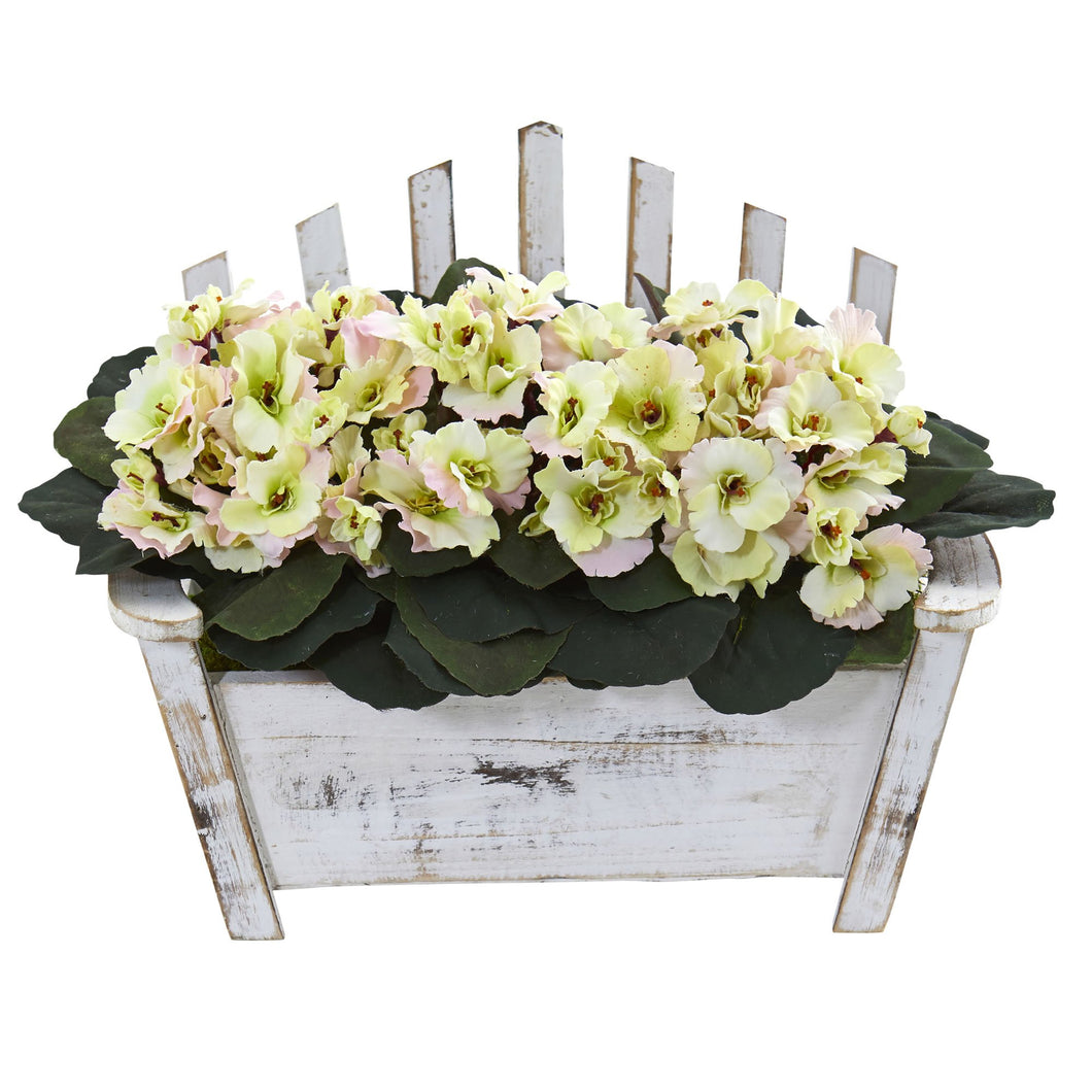 African Violet Artificial Plant in Wooden Bench Planter - Cream Pink