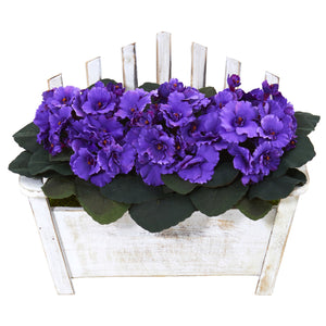 African Violet Artificial Plant in Wooden Bench Planter - Purple