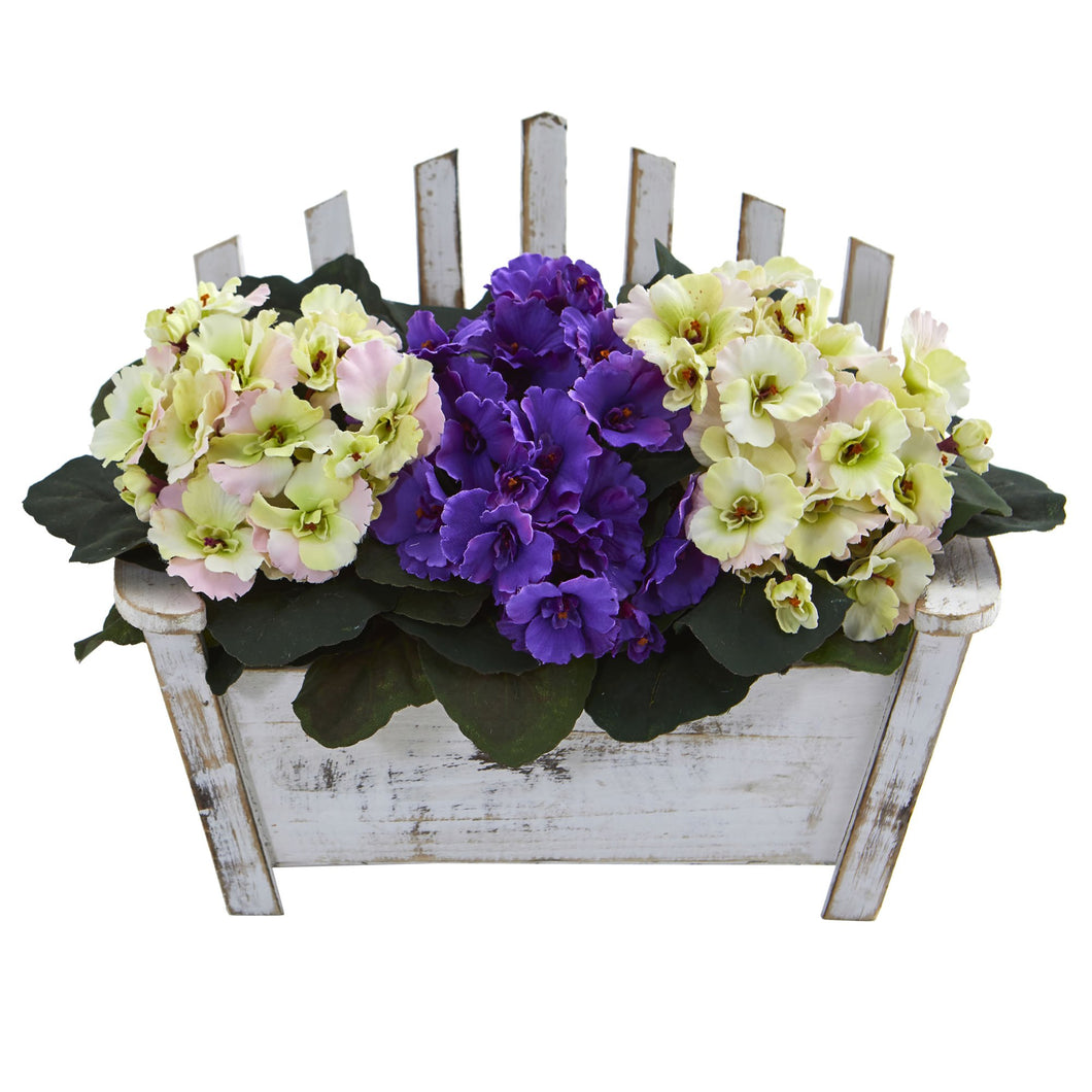 African Violet Artificial Plant in Wooden Bench Planter - White Purple