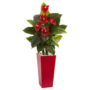 "53"" Anthurium Artificial Plant in Red Tower Vase(Real Touch)"