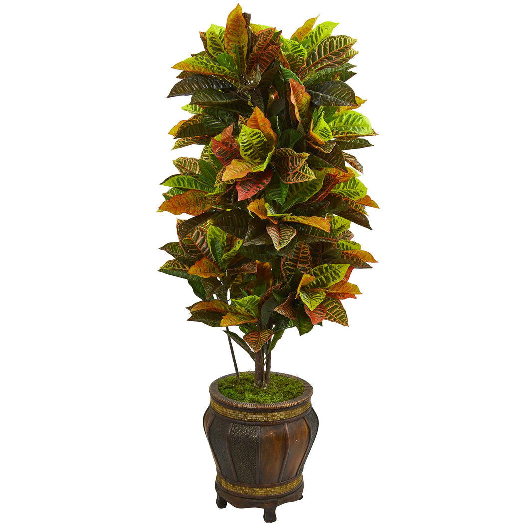 5.5' Croton Artificial Plant in Decorative Planter (Real Touch)