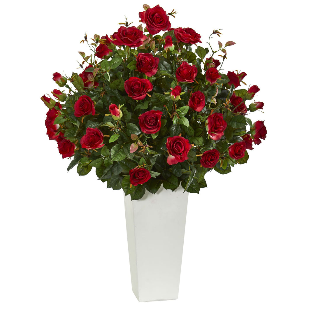 3' Rose Bush Artificial Plant in White Tower Vase