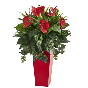 Mixed Anthurium Artificial Plant in Red Planter