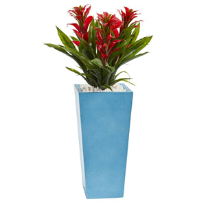 "26"" Triple Bromeliad Artificial Plant in Turquoise Tower Vase - Red"