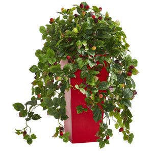 "30"" Rasberry Artificial Plant in Red Tower Planter"